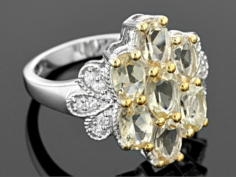 Yellow Beryl And White Zircon Sterling Silver Ring 2.96ctw