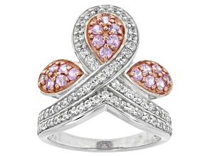 Pink Sapphire And White Zircon Sterling Silver Two Tone Ring 1.38ctw