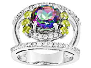 Quartz, Peridot And White Zircon Sterling Silver Ring 3.27ctw