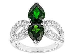 Green Chrome Diopside And White Zircon Silver Ring 4.07ctw