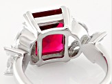 Synthetic Red Corundum And White Cubic Zirconia Rhodium Over Sterling Ring 8.94ctw