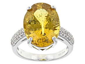 Golden Apatite Sterling Silver Ring 7.40ctw
