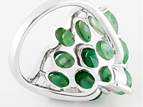 Green Emerald Sterling Silver Ring 7.20ctw
