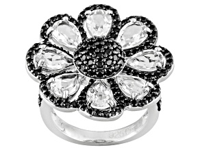 Black Spinel Sterling Silver Ring 4.96ctw