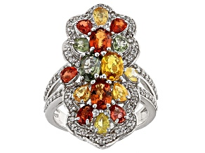 Multi Sapphire Sterling Silver Ring 5.29ctw