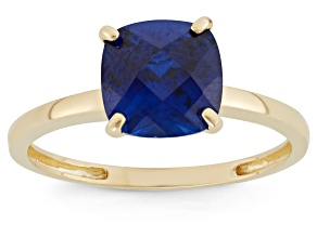 Synthetic Blue Sapphire 10kt Yellow Gold Solitaire Ring 2.04ct