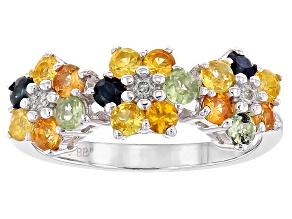 Multi-Sapphire Silver Ring 1.38ctw