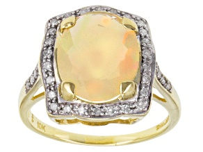 Ethiopian Opal 10k Yellow Gold Ring 2.07ctw