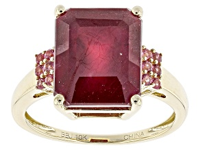 Red Ruby 10k Yellow Gold Ring 9.79ctw.