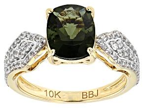 Green Moldavite 10k Yellow Gold Ring 2.32ctw