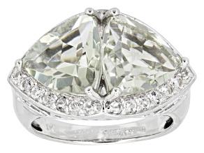 Prasiolite Sterling Silver Ring 6.02ctw