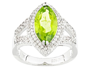 Green Peridot And White Zircon Sterling Silver Ring 3.02ctw