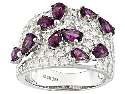 Purple Rhodolite Sterling Silver Ring 5.47ctw