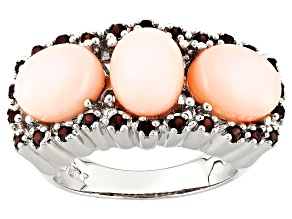 Pink Peruvian Opal Sterling Silver Ring .43ctw
