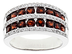 Red Garnet Sterling Silver Band Ring 2.36ctw