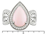 Pink Peruvian Opal Sterling Silver Ring .15ctw
