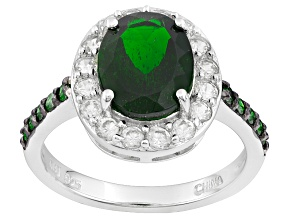 Green Russian Chrome Diopside, White Zircon And Green Diamond Sterling Silver Ring 3.85ctw