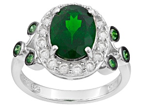 Green Russian Chrome Diopside, White Zircon And Greend Diamond Sterling Silver Ring 3.22ctw