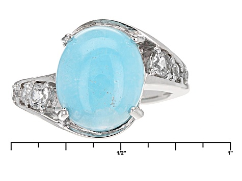 Blue Peruvian Hemimorphite Sterling Silver Ring .49ctw