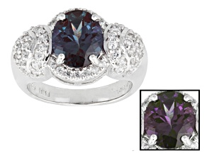 Lab Created Color Change Alexandrite Sterling Silver Ring 3.44ctw