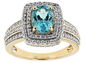 Blue Paraiba Color Apatite And White Zircon 10k Yellow Gold Ring 1.91ctw
