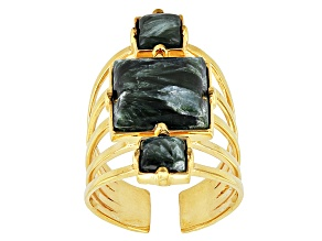 Green Seraphinite 18k Yellow Gold Over Bronze Ring