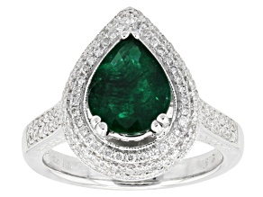 Green Emerald 18k White Gold Ring 2.17ctw