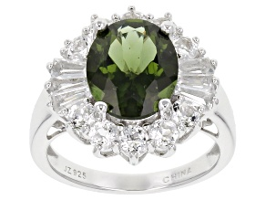 Green Moldavite Sterling Silver Ring 4.36ctw.