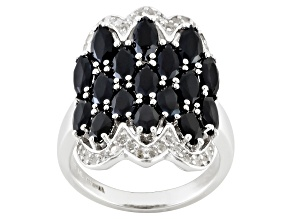 Black Spinel And White Topaz Sterling Silver Ring 4.15ctw