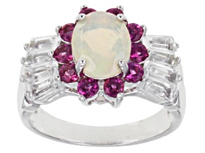 Multi Color Ethiopian Opal Sterling Silver Ring 2.20ctw