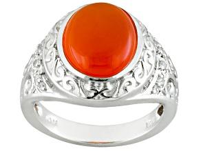 Orange Carnelian Sterling Silver Ring .08ctw