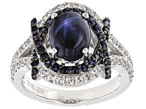 Blue Star Sapphire Sterling Silver Ring 3.11ctw