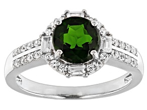 Green Chrome Diopside And White Zircon Sterling Silver Ring 1.43ctw