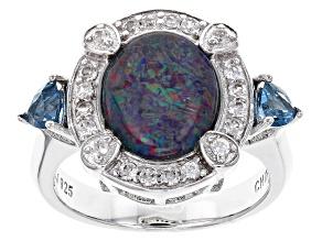 Australian Opal Triplet Sterling Silver Ring 1.02ctw