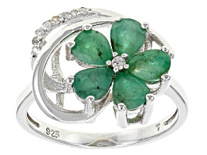 Green Emerald Sterling Silver Ring 1.58ctw