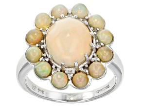 Multicolor Ethiopian Opal Sterling Silver Ring 2.95ctw