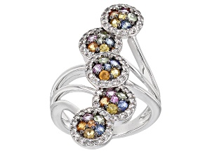 Multi-Sapphire Sterling Silver Ring 2.01ctw