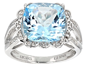 Sky Blue Topaz Sterling Silver Ring 5.45ctw