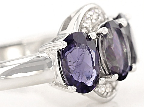 Purple Iolite Sterling Silver 3-Stone Ring 1.60ctw
