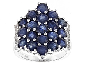 Blue Sapphire Sterling Silver Ring 5.79ctw