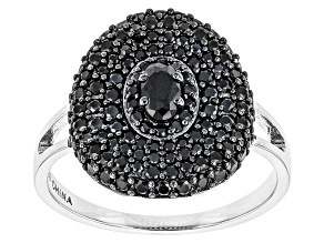 Black Spinel Sterling Silver Ring 1.77ctw