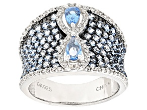 Blue Spinel Sterling Silver Ring 2.51ctw