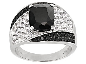Black Spinel Sterling Silver Ring 5.09ctw