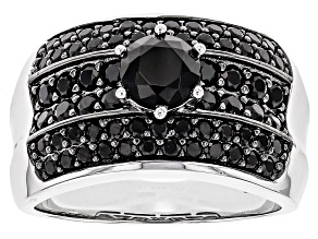 Black Spinel Sterling Silver Ring 2.21ctw