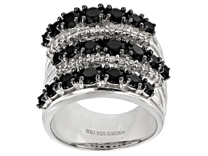 Black Spinel Sterling Silver Ring 4.97ctw