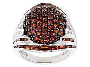 Garnet And White Topaz Sterling Silver Ring 6.20ctw