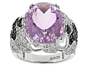 Purple Amethyst Sterling Silver Ring 10.97ctw