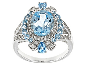 Sky Blue Topaz Sterling Silver Ring 4.27ctw