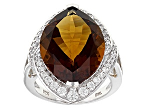 Brown Quartz Sterling Silver Ring 11.98ctw