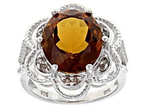 Brown Quartz Sterling Silver Ring 6.40ctw